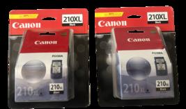 New Lot Of 2 Genuine Canon Pixma 210 Xl Black Ink Cartridges - $43.00