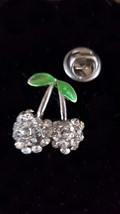 crystal covered cherry pin pin badge, Lapel Pin Badge / tie pin brooch