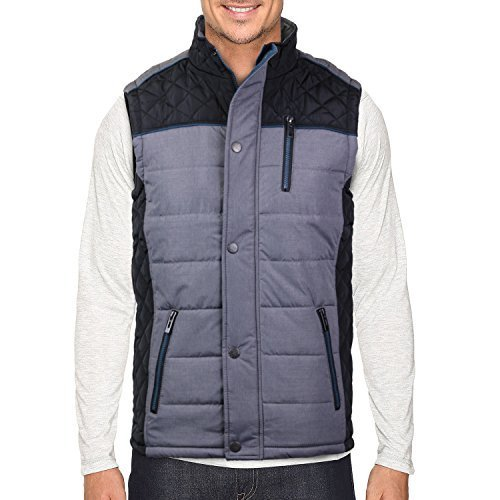 Holstark Men's Zip Up Insulated Fleece Lined Two Tone Vest (Medium, Black)