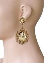 "3"" Long Light Brown Fake Topaz Rhinestones Clip On earrings Pageant Drag Queen - $21.38"
