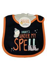 Carters Babys Halloween Bib Daddys Under My Spell Black Orange Teething - $7.91