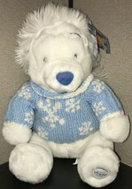 Disney Store Exclusive Winnie The Pooh White Blue Plush Bear Sweater Sno... - $14.85