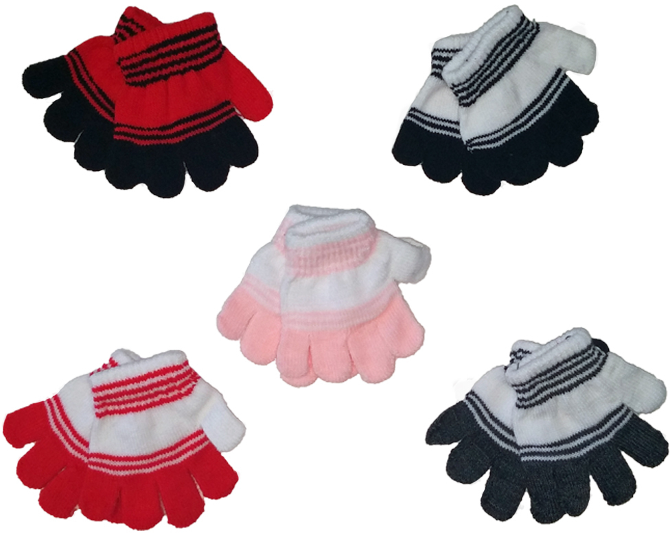 Case of [24] Toddlers' Magic Stretch Gloves - Striped
