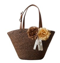 Fashion Vacation Item/ Artificial Flower Straw Hand Bag/ Beach Bag/Brown