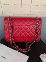 AUTHENTIC CHANEL RED CAVIAR QUILTED JUMBO DOUBLE FLAP BAG SILVER HARDWARE image 5