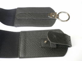 Cintura Donna Fashion Hip Vita Elastico Nero Largo Finta pelle Serpente Timbro image 8
