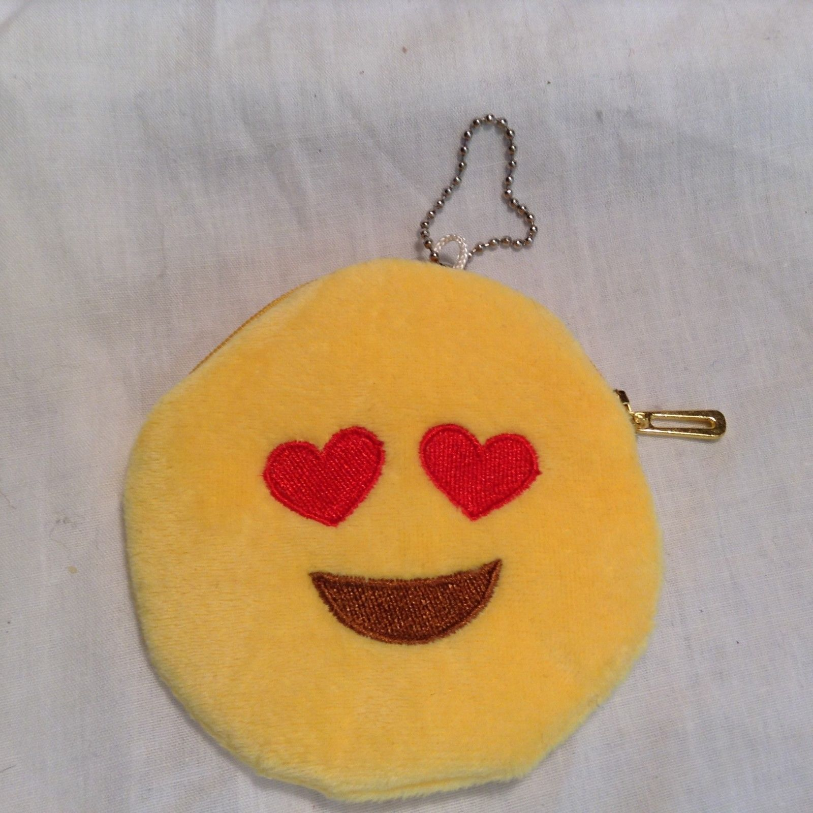 NEW Heart Eye Yellow Emoji Coin Purse