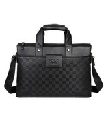 BDF Plaid Checkers Men Handbag Briefcase Laptop Tote Genuine Leather Mes... - $67.88