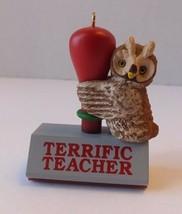 1991 Terrific Teacher Ink Stamp Hallmark Keepsake Christmas Ornament Wit... - $11.15