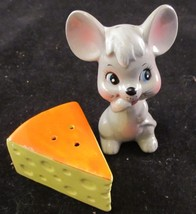 Vintage Enesco Mouse with Cheese Salt and Pepper Shakers Lots of Whimsey - $13.10