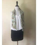 Vintage Floral Scarf Womens Head Wrap Pale Green Rectangle Tie Kerchief - $26.13