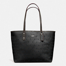 Coach City In Perforated Leather F 36658 59345 SILVER/BLACK Lapis Blue T... - $142.00