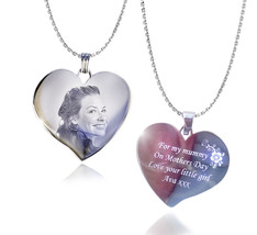 Photo & Text Engraved Heart Necklace and Pendant Valentine's day gift - $30.14