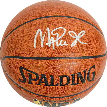Magic Johnson signed Spalding NBA Indoor/Outdoor TB Basketball (silver sig-gold