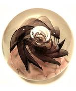 Studio Art Glass Paperweight Large Lavender Purple Flower Bubbles 3.5 in... - $67.32