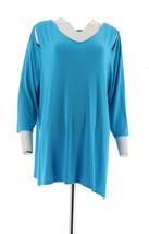 Belle Kim Gravel Knit Top Asymmetrical Hem Bright Ocean 1X NEW A307422 - $23.74