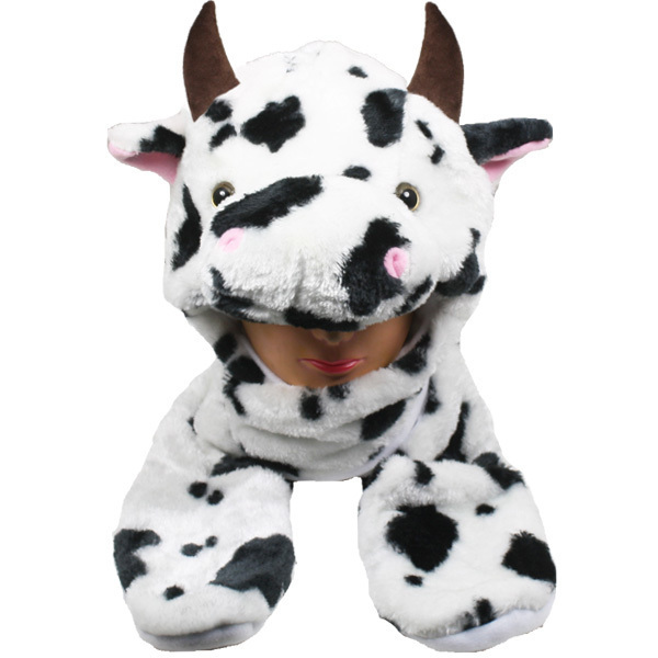 Case of [24] Cow Animal Winter Hats - Mittens