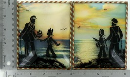 "Set of 2 Vintage 4 X 5"" Convex Glass Silhouettes Man & Boy Seaside Sunset 031"