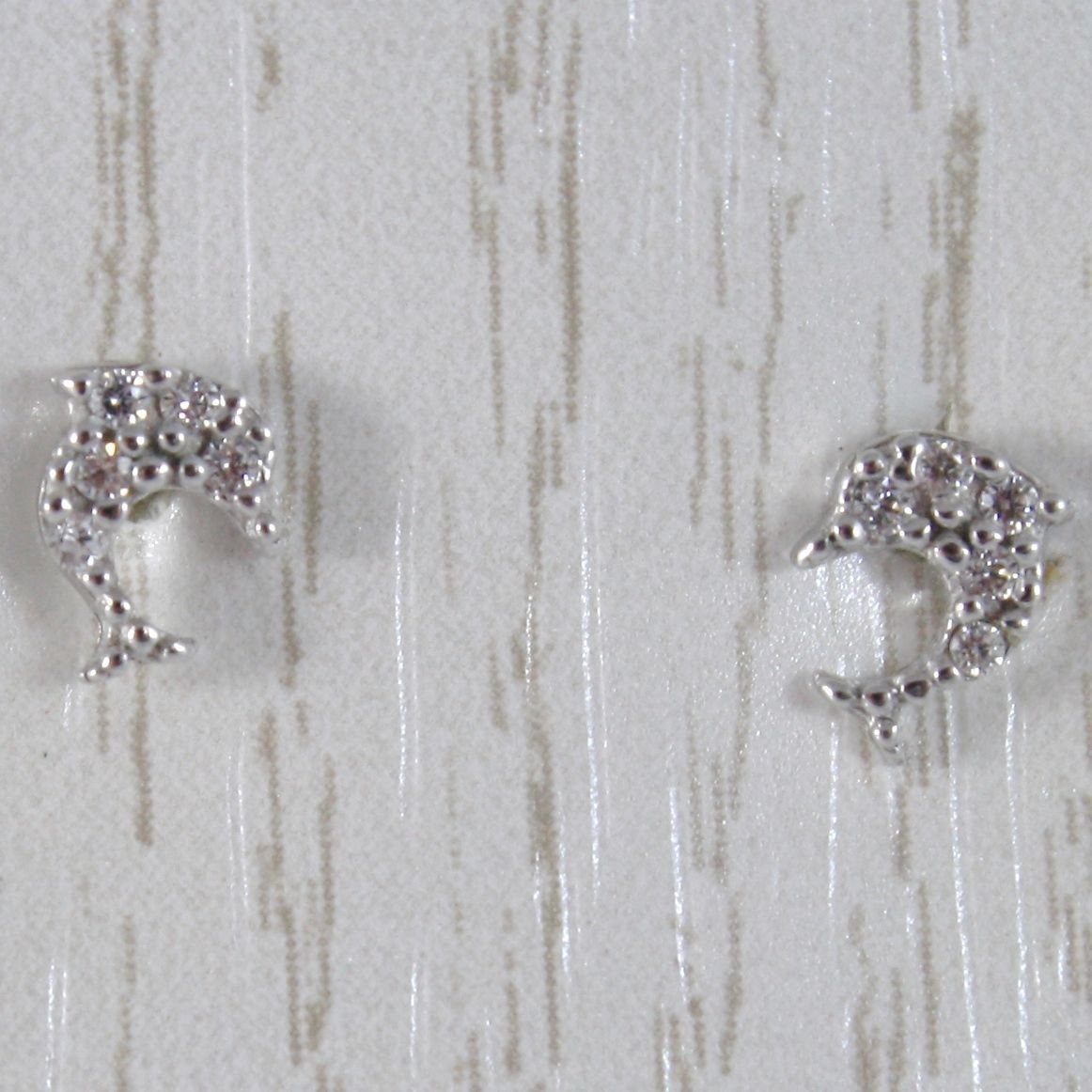 White Gold Earrings 750 18k Stud, with Mini Dolphins and Zirconia, 6 MM LONG