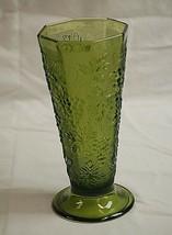 Anchor Hocking Avocado Green Glass Octagon Flower Vase Grape & Leaf Desi... - $24.74