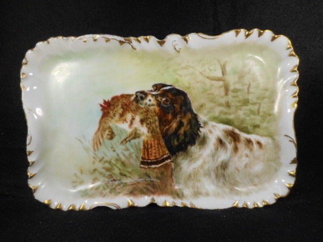 Antique H & Co. France Porcelain Tray with Hunting Dog and Game Bird Prey