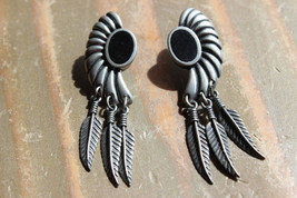 Vintage 1989 Ege Pewter Earrings Size: 5.5cm x 1.5cm - $19.79