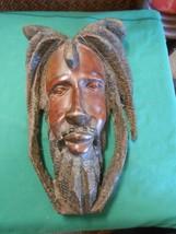RASTAFARIAN Wood Carving ART MASK Jamacia/Caribbean Handmade #1.FREE Pos... - $138.19