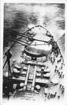 Using Fire Hose on US Navy Dreadnought Warship Real Photo RPPC postcard - $7.43