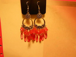 Paparazzi Earrings (New) Silver W/BLACK Highlights And Crystal Bright Pink Beads - $8.58