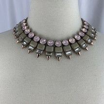 J Crew Rhinestone Spine Necklace Statement Collar Pink Rose Gold Tone Ch... - $79.15