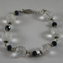 925. RHODIUM SILVER BRACELET WITH BLUE AND TRANSPARENT CRYSTALS image 1
