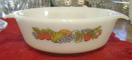 Vintage Fire King Anchor Hocking 1 Quart Casserole Color Fruit Natures B... - $18.02