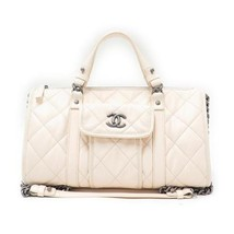 Auth CHANEL Hand Bag Shoulder Ivory Matelasse EX Large Logo Quilted Pouc... - $2,883.87