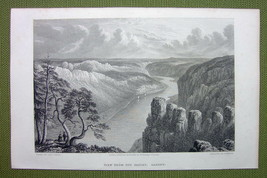 GERMANY Saxony Harz Bastei Elbe River - 1820s Copper Engraving by Cpt. B... - $26.96