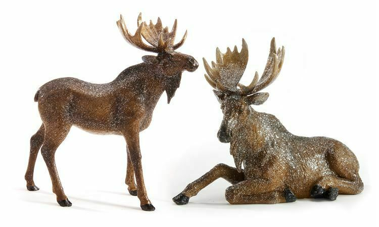 Set of 2 Brown Moose Figurines One Standing and One Sitting Polystone
