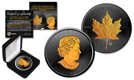2018 Black Ruthenium & 24K Gold Gilded 1 Troy Oz Silver CANADIAN MAPLE L... - $65.41