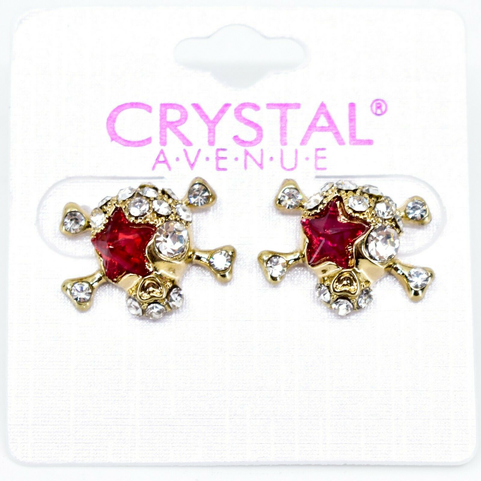 Crystal Avenue Silver Tone Pirate Skull w Red Star Charm Post Earrings