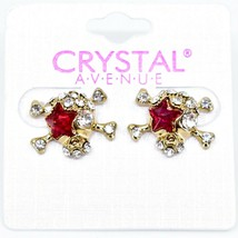 Crystal Avenue Silver Tone Pirate Skull w Red Star Charm Post Earrings image 1