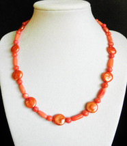 """17"""" Genuine coral and pearl necklace - $75.00"""
