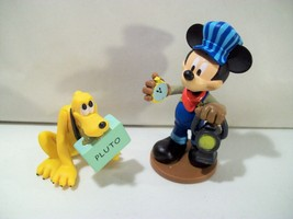 Lot Of 2 Disney Store Mickey Mouse Train Station Pvc Figures Mickey & Pluto - $15.63