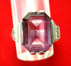 Vintage Art Deco Sterling Silver & Amethyst Cocktail Ring Womens SZ 7 - $93.33