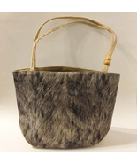 Fabric Purse Gray Tan Beads Faux Leather Accents Shoulder Bag Tote Lined... - $27.00
