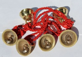 """46"""" Hanging Bell Chain Brass with 6 Bells in Red String & Free Gift - $14.99"""