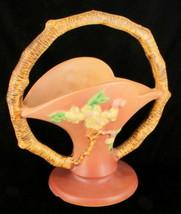 """Vintage Roseville Art Pottery Apple Blossom Pink Handled Basket Vase 9"""" ... - $89.99"""
