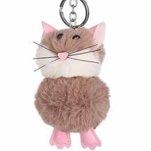 Pom Pom Keychain Cute Imitation Rabbit Hair Mouse Pendant Bags Decor Rin... - $9.89