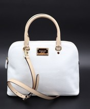 NWT MICHAEL Michael Kors Cindy White Signature Logo Leather Dome Satchel... - $198.00