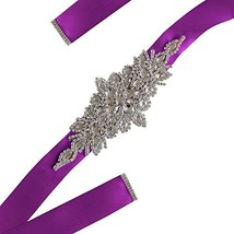 Fankeshi Women's Crystal Rhinestones Beaded Wedding Bridal Dresses Sash Belt Pur - $17.27