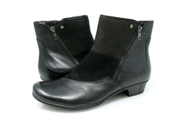 Earth Orion Ankle Boots Womens 12 B Black Leather Side Zip Low Heel Bootie - £34.51 GBP