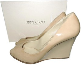Jimmy Choo Beige Patent Leather Wedge Sandal Espadrilles Shoes 40.5 Pump - $311.00