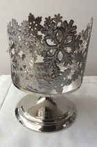 Bath & Body Works Silver Snowflakes 3 Wick Pedestal Candle Holder Sleeve New! - $16.95